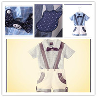 Suspender Set New Baby Candy Color and Breathable Baby Clothes Hot Infant Cute Bowknot and Short Sleeve Bodysuits Three Piece