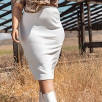 Plus Cream Knitted Midi Skirt