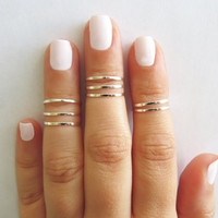 8 Above the Knuckle Rings - Silver stacking ring, Knuckle Ring, Thin silver shiny bands, Midi rings, Silver accessories, Birthday gift = 6014847943