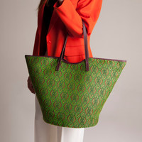 Basket Tote bag Green woven fabric shopper every day Bag marsala Leather Handles Beach Summer french market basket
