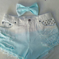 High Waisted Aqua Ombre Shorts and Pastel by VintageAndUrbanSouls