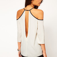 ASOS Top With Cutout Shoulder And V Back