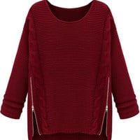 Wine Red Long Sleeve Side Zipper Cable Knit Sweater one size (Size: M, Color: Red) = 1919992644