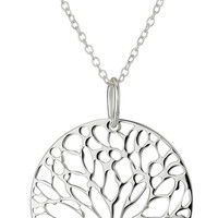 YAN & LEI Hot Sale Sterling Silver Tree of Life Disk Chain Pendant Necklace