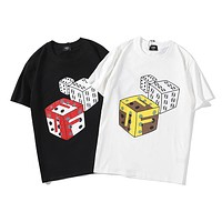 Fendi 2019 new dice letter printing round neck loose half-sleeved T-shirt
