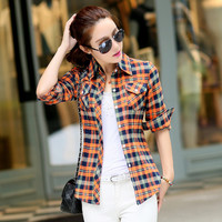 Plaid Shirt  2016 Spring Single Breasted Women Flannel Shirt Wear MAO Each Child Lapel Long Sleeve Blouses