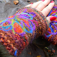 knitted wrist warmers in Lithuanian style /  Lithuanian hand warmers with flower decor/ knit multicolor cuffs/ Lithuanian wristlets