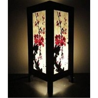 Thai Vintage Handmade Asian Oriental Art Mei flowers Style accessories Bedside Table Light or Floor Wood Paper Lanna Lamp Shades Home Bedroom Decor / Garden Decorative Modern Design from Thailand