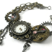 Watch Bracelet Steampunk Watch jewelry cogs hands gears charms industrial  Swarovski crystal Fuchsia Pink  Light Rose Pink Ready To Ship