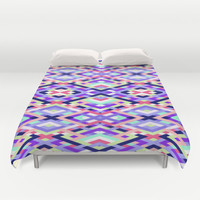 Smart Diagonals Coral Duvet Cover by House of Jennifer