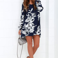 Sunday Mood Navy Blue Floral Print Shift Dress