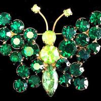 "Green Butterfly Brooch Pin Kelly & Lime Green Rhinestones Gold Metal 2"" Vintage"