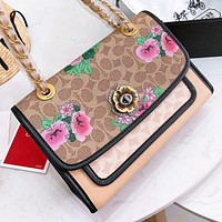 COACH New fashion floral pattern print leather chain shoulder bag crossbody bag