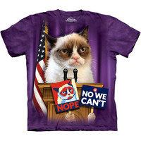 GRUMPY CAT FOR PRESIDENT Anti Barack Obama T-Shirt Trump Hillary Nope No We Cant