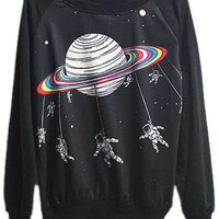 ROMWE   Saturn Printed Black Pullover, The Latest Street Fashion