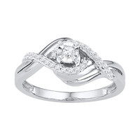10kt White Gold Womens Round Diamond Solitaire Bridal Wedding Engagement Ring 1/5 Cttw
