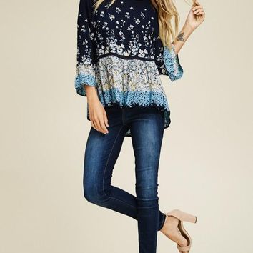 Make a Wish Floral Top - Navy