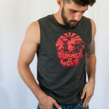 Unisex Summer of Love Sleeveless Tee mens Muscle Tank   Charcoal Grey and Red Tank 60s Vintage Style Jefferson Airplane 1960s music festival