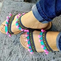 Boho Ethnic Tribal Sandals Turquoise