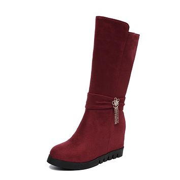 Mid Calf Boots Platform Wedges Heeled Winter Shoes for Woman 6273