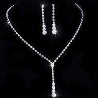 Rhinestone Lariat Choker Necklace and Earring Set For Woman