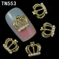 10Pcs Pack Hollow Gold Imperial Crown With Pearl 3D Nail Art Decorations Rhinestone For Nails Alloy DIY Glitters Nail Tools