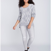 Irregular Chevron Print Sweater | Lane Bryant