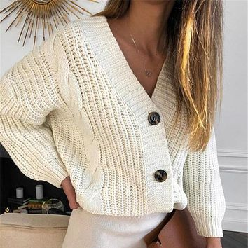 Women Autumn Female Casual Long Sleeve Button Cardigan Knitted Sweaters Coat Femme Winter Warm Clothes