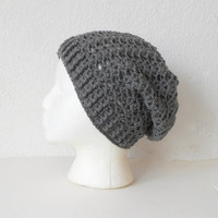 Lacy Slouch Skullcap Beanie Hat in Pewter, ready to ship.