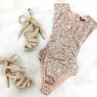 Sexy Gold Sequin Mesh bikini Bandage Bathing Suit Backless Monokini High Cut Thong Swimwear Women One Piece Swimsuit Bodysuit