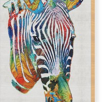 Colorful Zebra Face By Sharon Cummings Wood Print