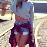 Mystery Vintage 90's Grunge Style Flannel-Plaid-Oversized Button Up-Hipster- Rocker Chic