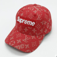 Supreme & LV joint tide brand trendy casual hat red