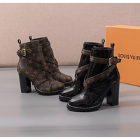 LV Louis Vuitton Trending Women's men Leather Side Zip Lace-up Ankle Boots Shoes High Boots
