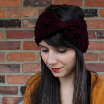Crochet Headband Big Bow Ear Warmer in Claret Burgundy - Custom Order - Hair Accessories