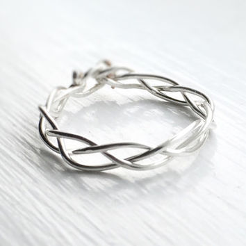 Silver Braid ring,braided ring,friendship rings,bridesmaid gift,stackable ring,layering ring,braiding rings,simple braid ring,twist ring,her