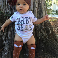 BABY BEAR Onesuit® / teepee Onesuit® /creeper one piece / Papa Bear / Mama Bear / Father's Day Onesuit® / Custom Name Onesuit®