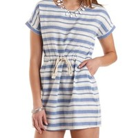 Lt Blue Combo Drawstring Striped Cotton Dress by Charlotte Russe