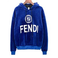 FENDI New Trending Women Men Stylish Print Long Sleeve Hoodie Pleuche Velvet Sweater Top Sweatshirt Sapphire Blue