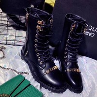 Moschino Fashion Leather Wool Martens Boots Shoes