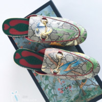 GUCCI Fashion Casual Print Flat bottomed single shoe sandals Blue Bird G