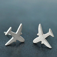 womens 925 silver aircraft-shaped earring girl ear stud christmas gift 05