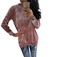 2017 New Womens Autumn Winter Warm Velvet Hoodies Sweatshirt Long Sleeve Solid Jumper Pullover Bottoming Blouse Shirts Plus Size