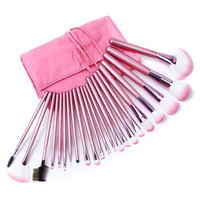 22 Piece Pink Makeup Brush Set