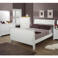 Bianco White Queen Size Sleigh Bedroom Set
