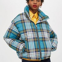 TALL Tartan Check Puffer Jacket