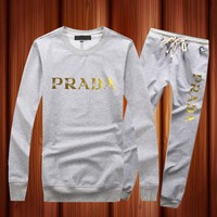 PRADA Casual Long Sleeve Shirt Top Tee Pants Trousers Set Two-Piece Sportswear-4