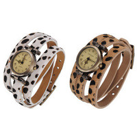 favwish — Vintage Lady Rome Number Leopard Leather Band Bracelet Wrist Watch