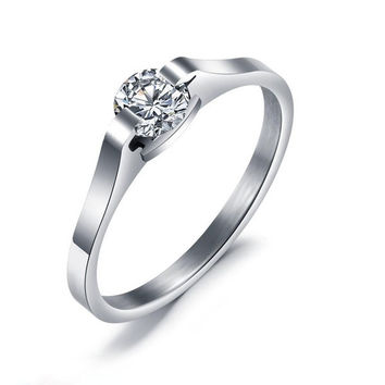Classical Diamond CZ Inlaid Silver Wedding Engagement Ring + Gift Box = 1843012420