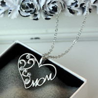 """Tomtosh Fashion Korean mother and child love """"Mom"""" crystal pendant necklace Mother's Day gifts sweater chain necklace for mother"""